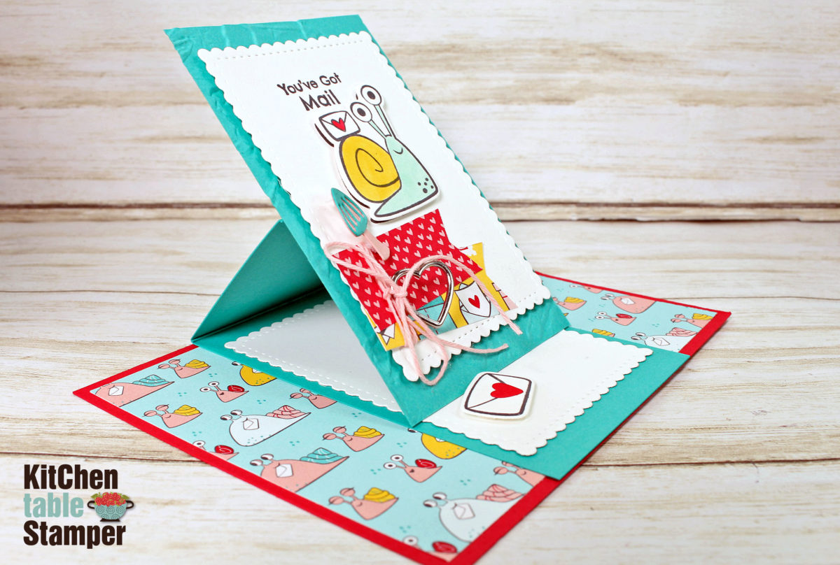Snailed It Mini Easel Card Tutorial With Kitchen Table Stamper